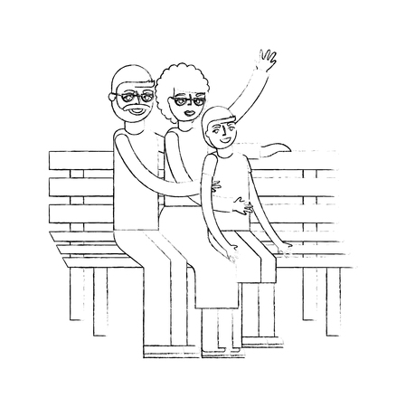grandparents with grandson sitting on bench vector illustration hand drawing Çizim