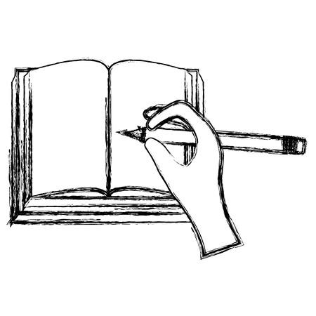 hand writing with pencil in text book school vector illustration design Vektoros illusztráció