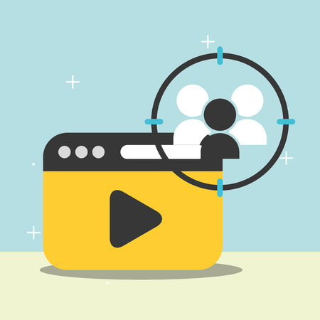 website video play people blogger vector illustration
