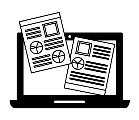 laptop computer and document file with statistics graphic vector illustration design