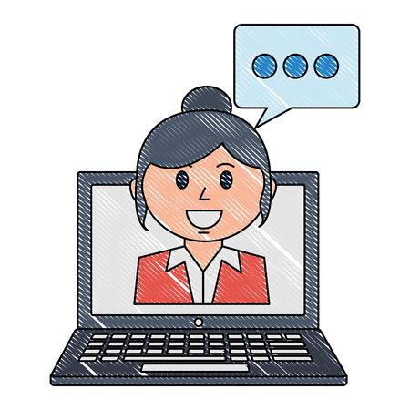 laptop computer with businesswoman and speech bubble vector illustration design Banque d'images - 112382830