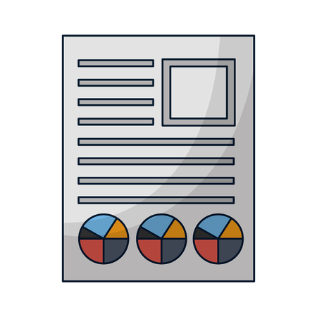 document file with statistics pie graph icon vector illustration design