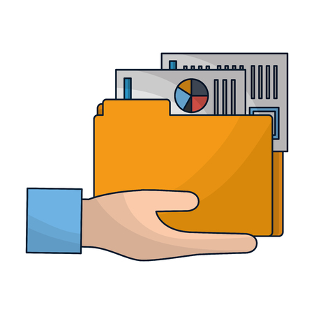 hand holds folder paper document report vector illustration