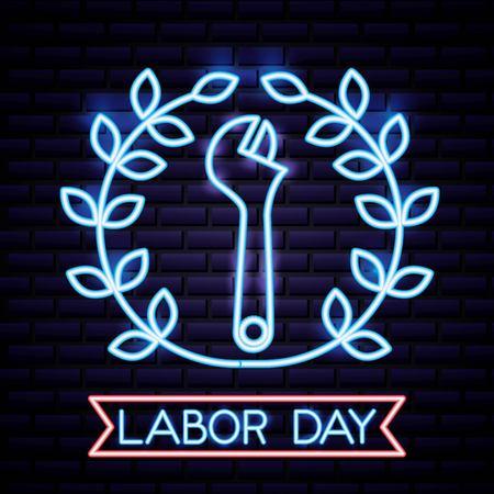 labor day label plants tool ribbon neon vector illustration