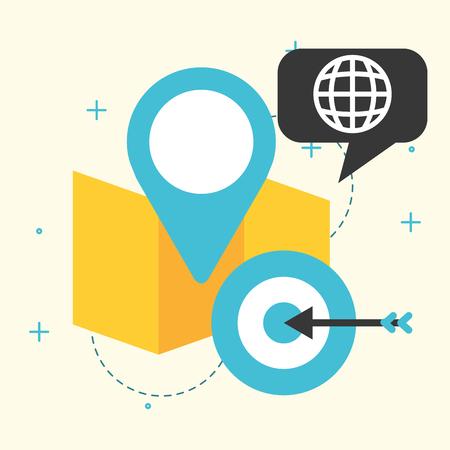 gps navigation map target global communication vector illustration