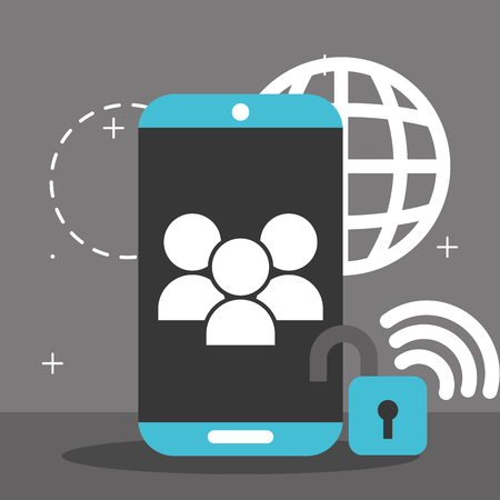 smartphone people security global wifi internet big data vector illustration