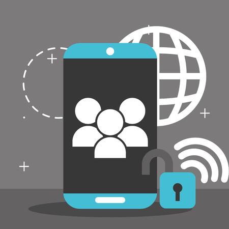 smartphone people security global wifi internet big data vector illustration
