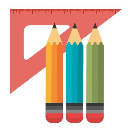 school rule with colors pencils vector illustration design