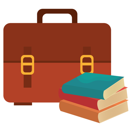 school handbag with text books vector illustration design Ilustração