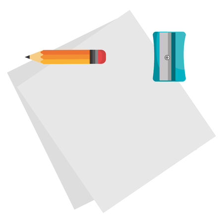 notebook paper sheet with pencil and sharpener vector illustration design