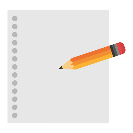 notebook paper sheet with pencil vector illustration design Çizim