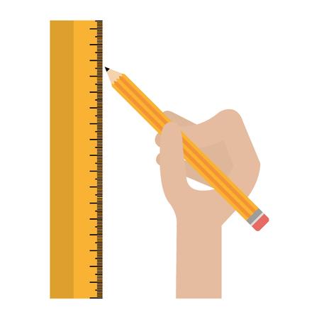 Mano con lápiz y regla, diseño de ilustraciones vectoriales Ilustración de vector