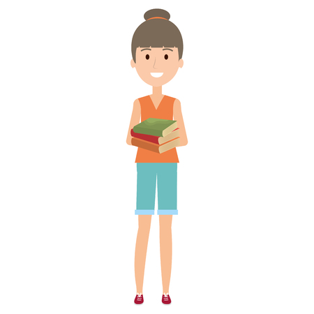 young girl student with books character vector illustration design Illustration