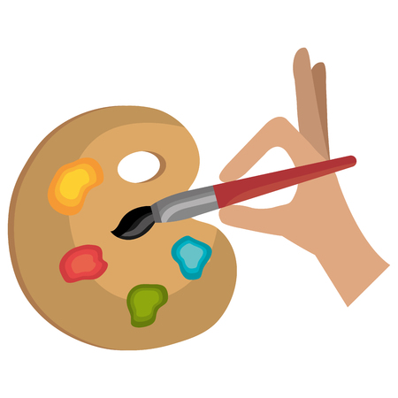 hand painting with brush and pallette vector illustration design