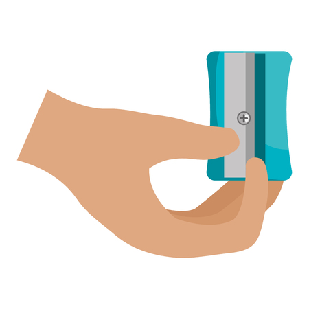 hand with sharpener icon vector illustration design Ilustração Vetorial