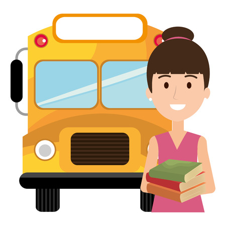 young girl student with bus character vector illustration design Ilustracja