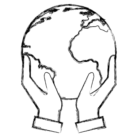 hands with world planet vector illustration design