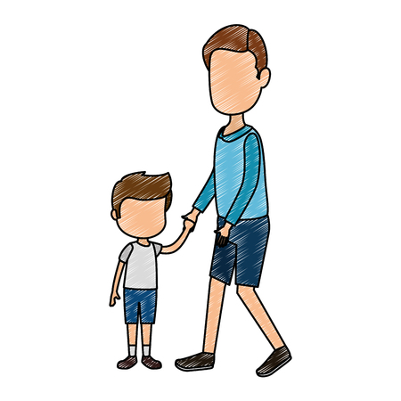 cute and little boy with father characters vector illustration design Ilustração