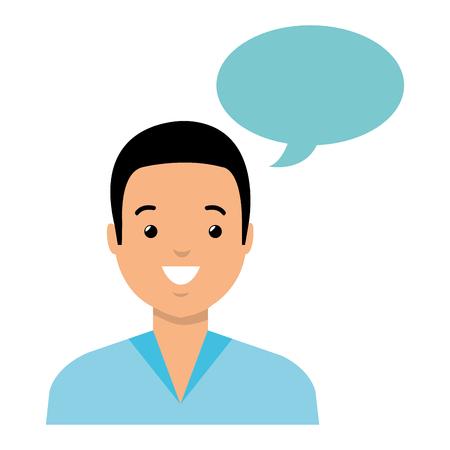 junger Mann mit Sprachblasenvektorillustrationsentwurf Vektorgrafik