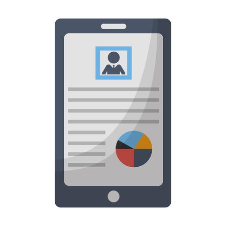 smartphone human resources information online vector illustration