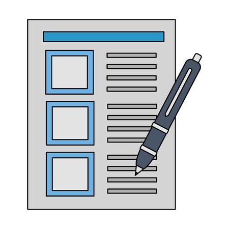 Dokument Büro Füllfederhalter Briefpapier Vektor-Illustration Vektorgrafik