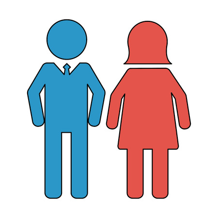 people pictogram man and woman vector illustration