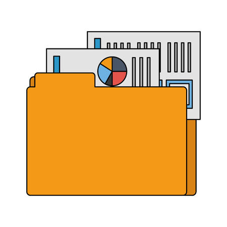office folder file documents financial data vector illustration