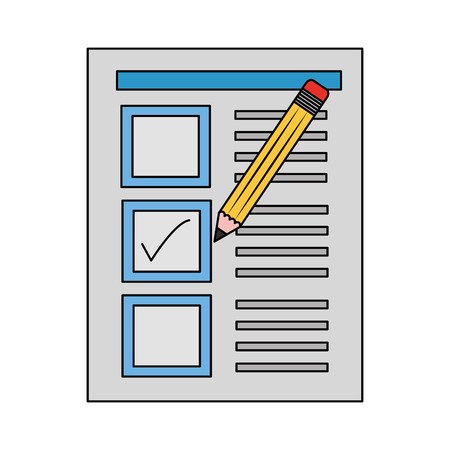 document paper check mark pencil vector illustration