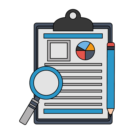 office clipboard report magnifying glass and pencil vector illustration