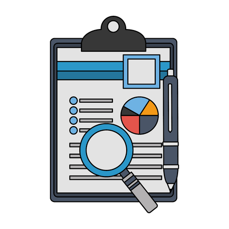 clipboard paper information graph magnifying glass and pen vector illustration Archivio Fotografico - 112382975
