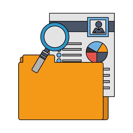 folder file document hr magnifying glass vector illustration