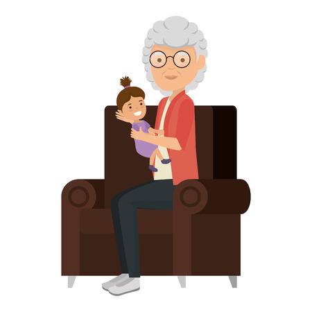 cute grandmother with granddaughter in the sofa vector illustration design Vektorové ilustrace