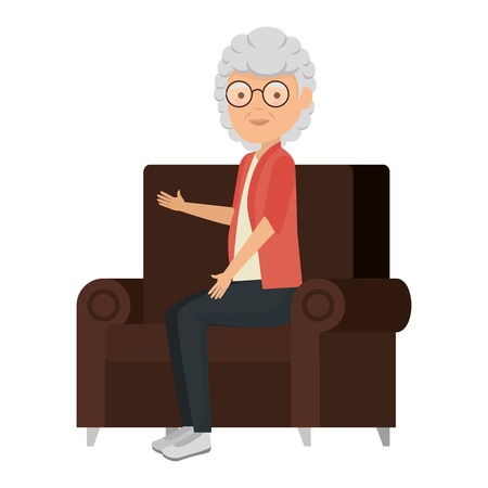 cute grandmother in the sofa avatar character vector illustration design 일러스트