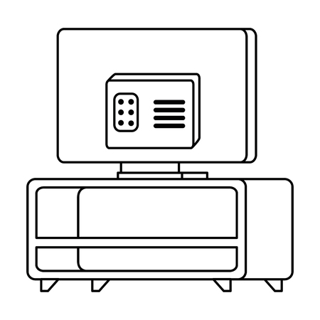 modern tv back in table wooden vector illustration design