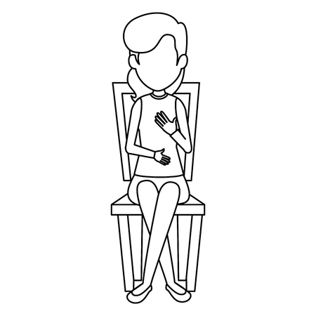beautiful and young woman in the chair vector illustration design