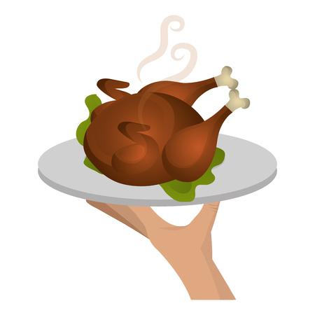 vassoio di sollevamento a mano con disegno di illustrazione vettoriale di carne di pollo