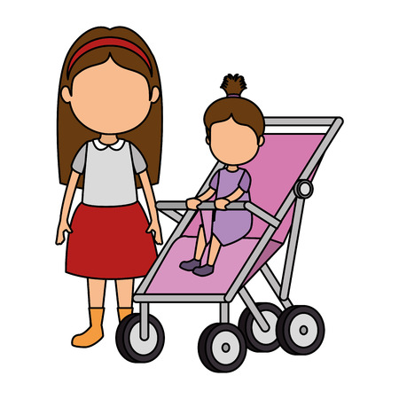 little girl baby in cart with sister vector illustration design