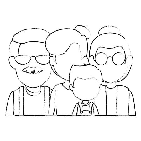 grandparents couple with daughter and grandson vector illustration design