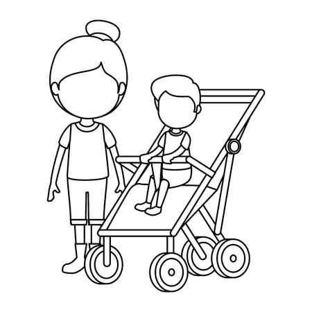 baby boy in cart with sister vector illustration design Stok Fotoğraf