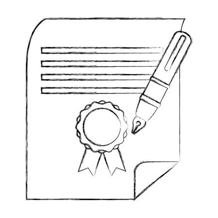 school graduation certificate and fountain pen vector illustration sketch