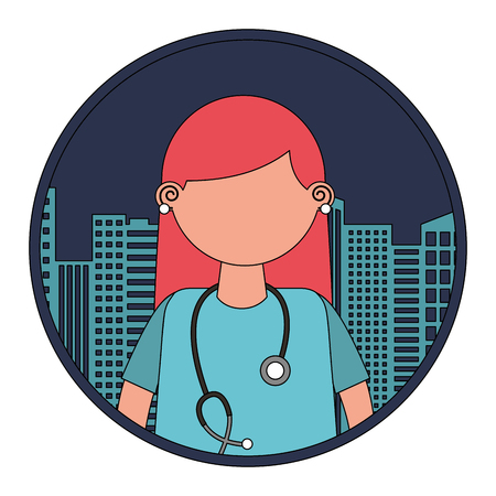 medical female doctor with cityscape vector illustration design