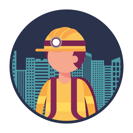firefighter with cityscape character vector illustration design 스톡 콘텐츠 - 105555856