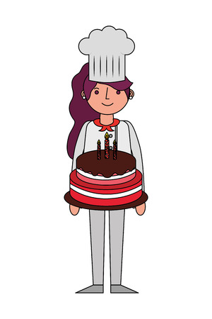chef woman holding sweet birthday cake vector illustration Banque d'images - 105555857