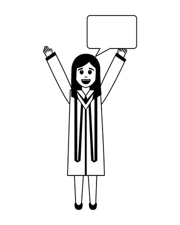 happy graduate woman with speech bubble vector illustration black and white
