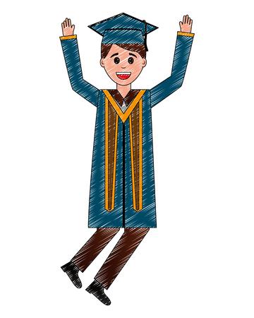 young man graduated celebrating avatar character vector illustration design Stok Fotoğraf