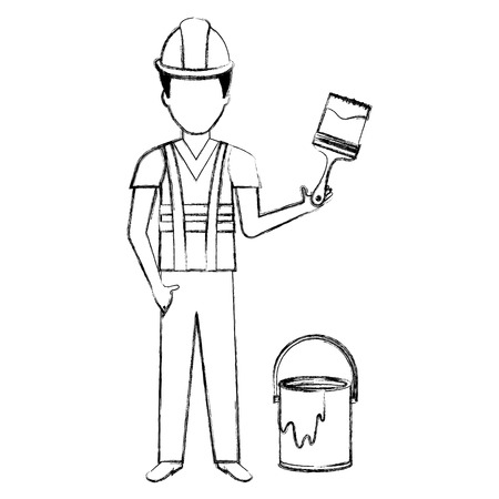 painter with paint pot and brush vector illustration design