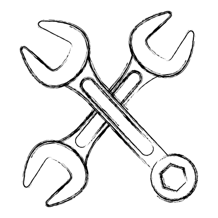 wrenchs keys crossing icon vector illustration design 向量圖像