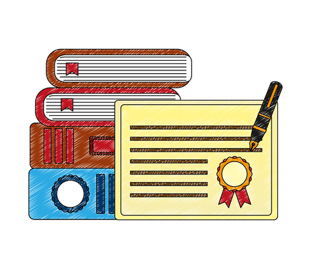 books graduation certificate and fountain pen vector illustration