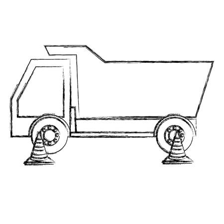 dump truck with cones vector illustration design