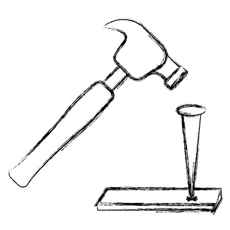 Hämmern des Nagels im Holzvektorillustrationsdesign